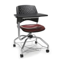 Stars Foresee Series Tablet Chair with Removable Vinyl Seat Cushion - Student Desk Chair, Wine