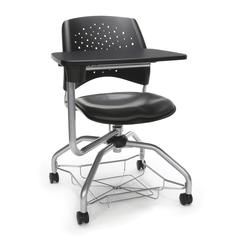 Stars Foresee Series Tablet Chair with Removable Vinyl Seat Cushion - Student Desk Chair, Charcoal