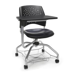 Stars Foresee Series Tablet Chair with Removable Vinyl Seat Cushion - Student Desk Chair, Navy