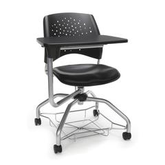 Stars Foresee Series Tablet Chair with Removable Vinyl Seat Cushion - Student Desk Chair, Black