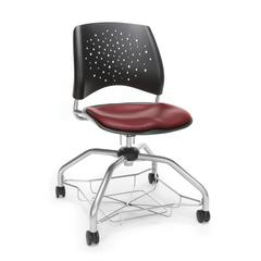 Stars Foresee Series Chair with Removable Vinyl Seat Cushion - Student Chair, Wine