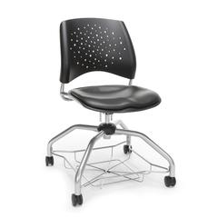 Stars Foresee Series Chair with Removable Vinyl Seat Cushion - Student Chair, Charcoal