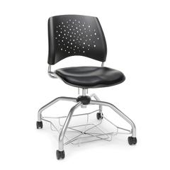 Stars Foresee Series Chair with Removable Vinyl Seat Cushion - Student Chair, Black