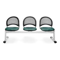 Moon 3-Beam Seating with 3 Vinyl Seats, Teal