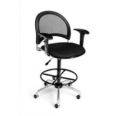 OFM Moon Swivel Stool with Arms, Black