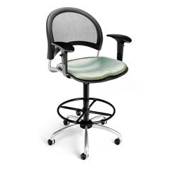 Elements Moon Swivel Chair with Arms and Drafting Kit, Olympus Laurel