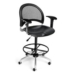 Moon Swivel Plastic Chair with Arms and Drafting Kit, Black