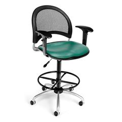 Moon Swivel Vinyl Chair with Arms and Drafting Kit, Teal
