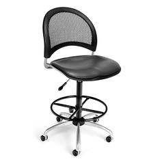 Moon Swivel Vinyl Chair with Drafting Kit, Charcoal