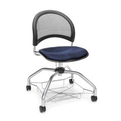 Moon Foresee Series Chair with Removable Fabric Seat Cushion - Student Chair, Navy