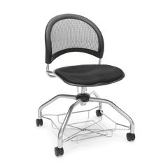 Moon Foresee Series Chair with Removable Fabric Seat Cushion - Student Chair, Black