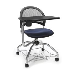 Moon Foresee Series Tablet Chair with Removable Fabric Seat Cushion - Student Desk Chair, Navy