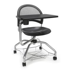 Moon Foresee Series Tablet Chair with Removable Plastic Seat Cushion - Student Desk Chair, Black