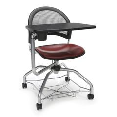 Moon Foresee Series Tablet Chair with Removable Vinyl Seat Cushion - Student Desk Chair, Wine