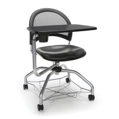 Moon Foresee Series Tablet Chair with Removable Vinyl Seat Cushion - Student Desk Chair, Charcoal