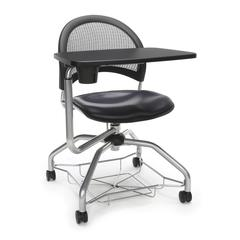 Moon Foresee Series Tablet Chair with Removable Vinyl Seat Cushion - Student Desk Chair, Navy