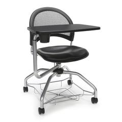 Moon Foresee Series Tablet Chair with Removable Vinyl Seat Cushion - Student Desk Chair, Black