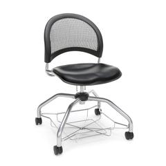 Moon Foresee Series Chair with Removable Vinyl Seat Cushion - Student Chair, Black