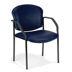 OFM Manor Series Guest/Reception Chair (4 legs, Vinyl), Navy
