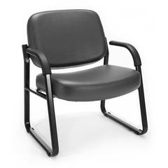 OFM Big & Tall Vinyl Guest/Reception Chair Charcoal