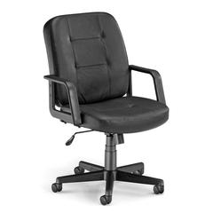 Executive/Conference Low-Back Leather Chair, Black
