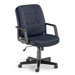 Executive/Conference Low-Back Leather Chair, Navy