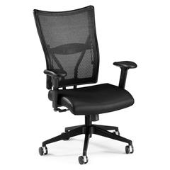 Talisto Series Executive Mid-Back Leather Seat/Mesh Back Chair, Black