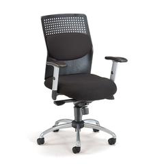 OFM AirFlo Series Executive Task Chair with Silver Accents, Black Mesh