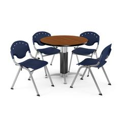 """Core Collection Breakroom Bundle, 42"""" Round Metal Mesh Base Multi-purpose Table in Cherry, 4 Rico Stacking Chairs in Navy"""