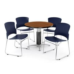 Metal Mesh Base Table in Cherry, 4 Plastic Stack Chairs in Navy