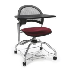 OFM Moon Foresee Series Tablet Chair with Removable Fabric Seat Cushion - Student Desk Chair, Burgundy (339T)