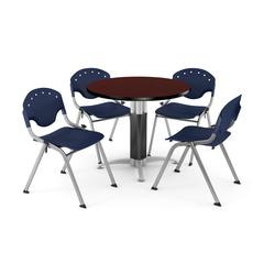 """Core Collection Breakroom Bundle, 42"""" Round Metal Mesh Base Multi-purpose Table in Mahogany, 4 Rico Stacking Chairs in Navy"""