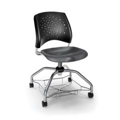 OFM Stars Foresee Series Chair with Removable Plastic Seat Cushion - Student Chair, Black (329-P)