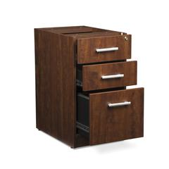 Fulcrum Series Locking Pedestal, 3-Drawer Filing Cabinet, Cherry