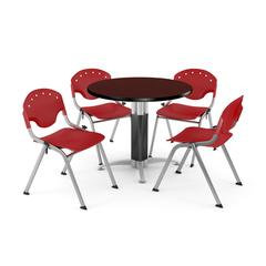 """Core Collection Breakroom Bundle, 42"""" Round Metal Mesh Base Multi-purpose Table in Mahogany, 4 Rico Stacking Chairs in Red"""