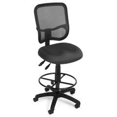 OFM Comfort Series Model 130-DK Ergonomic Mesh Swivel Armless Task Chair with Drafting Kit, Mid Back, Gray