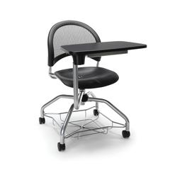 OFM Moon Foresee Series Tablet Chair with Removable Plastic Seat Cushion - Student Desk Chair, Black (339T-P)