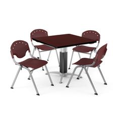 """Core Collection Breakroom Bundle, 42"""" Square Metal Mesh Base Multi-purpose Table in Mahogany, 4 Rico Stacking Chairs in Burgundy"""