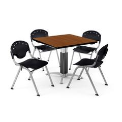 """Core Collection Breakroom Bundle, 42"""" Square Metal Mesh Base Multi-purpose Table in Cherry, 4 Rico Stacking Chairs in Black"""