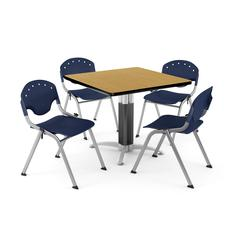 """Core Collection Breakroom Bundle, 42"""" Square Metal Mesh Base Multi-purpose Table in Oak, 4 Rico Stacking Chairs in Navy"""