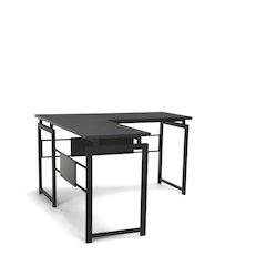 L Desk with Metal Leg, Espresso