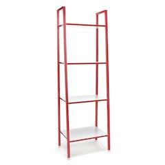 4-Shelf Bookshelf, Red & White