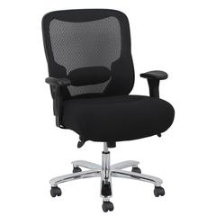 Big and Tall Swivel Mesh Office Chair with Arms, Black/Chrome