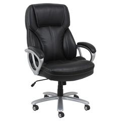 Big and Tall Leather Executive Office Chair with Arms, Black/Silver