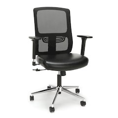 Ergonomic Mesh Chair with Leather Seat, Black, Crome
