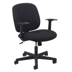 Swivel Upholstered Task Chair with Arms, Black
