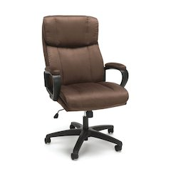 Plush High Back Microfiber Office Chair, Brown