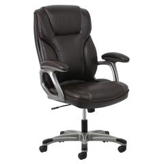 Ergonomic High-Back Leather Executive Office Chair with Arms, Black/Silver or Brown/Silver
