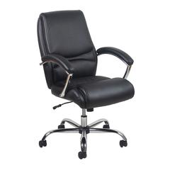 Ergonomic High-Back Leather Executive Office Chair with Arms, Black/Chrome or White/Chrome