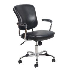 Swivel Leather Office Chair with Padded Arms, Black/Chrome